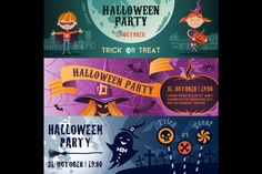 Halloween party flat banners set by valeri_si on Creative Market