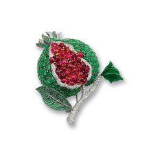Bonhams : A jadeite, spinel, tsavorite garnet and diamond pomegranate... ❤ liked on Polyvore featuring jewelry, green garnet jewelry, diamond jewellery, tsavorite garnet jewelry, spinel jewelry and diamond jewelry