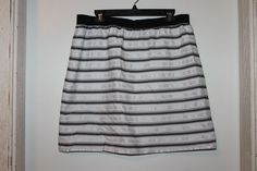 Ann Taylor Skirt Striped White Black Silver Women's Size 14 Fully Lined #AnnTaylor #StraightPencil