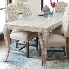 Aria Rectangular Leg Dining Table & Chairs by Classic Home | Wooden Rectangle Leg Dining Set Table Chairs