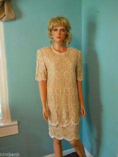 Vintage Brilliante By JA Beaded Lace Formal Dress Sz L