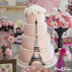 maybe another color. Paris Birthday Cakes, Paris Themed Cakes, Paris Themed Birthday Party, Paris Cakes, Bolo Paris, Paris Sweet 16, Parisian Party, Quince Cakes, Quinceanera Themes