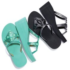 """The long lasting comfort of a flip flop with the lift of a wedge. Features a toe wedge with vamp strap and faux circle and square shaped beads embellishing the top. Beads match the color of the flip flop. Whole sizes only. Half sizes, order one size down. · Polyurethane · Heel: 2 2/3"""" H · Platform: 3/4"""" H · Cleaning: Wipe with a dry cloth · Imported"""