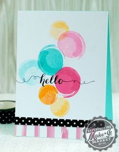 Hello Circles Card by Betsy Veldman for Papertrey Ink (June 2014)