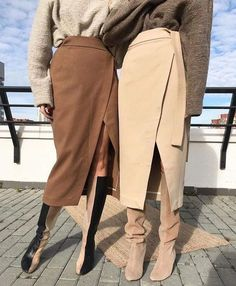 Autumn Winter Women High Waist Suede Lace Up Midi Skirt Beige Outfit, Mon Jeans, High Waist Rock, Skirt Fashion, Fashion Outfits, Cooler Style, Long Skirts For Women, Winter Skirt, Inspiration Mode