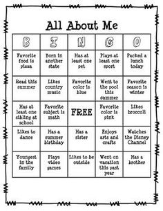 Getting To Know You Game for the first week of school. All About Me BINGO. FREE on TPT!!