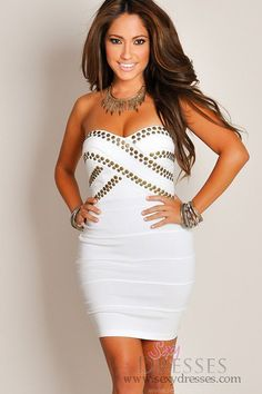 Sexy Ivory Bronze-Studded Bandage Mini Tube Dress.