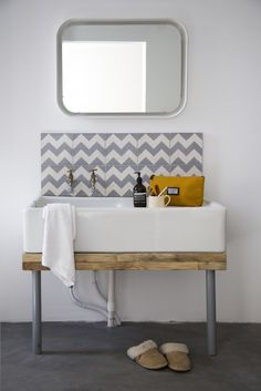 The bathroom features a large Belfast sink. Belfast Sink Bathroom, Belfast Sink Kitchen, Large Bathroom Sink, Wet Room Bathroom, Wet Room Shower, Upstairs Bathrooms, Bathroom Basin, Laundry In Bathroom, Dream Bathrooms