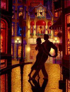 Denis Nolet 1964 - Canadian Figurative painter - Night Tango in Paris Dance Paintings, Great Paintings, Beautiful Paintings, Romance Arte, Tango Art, Romantic Dance, Tres Belle Photo, Silhouettes, Flamenco Dancers