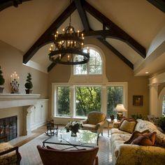 wood beams white windows
