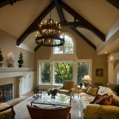 wood beams white windows