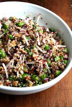 quinoa salad with radishes, walnuts, edamame and green onions...also instructions on how to cook quinoa so it's not mushy!