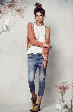 Boyfriend jeans and a topknot (from Free People- always Free People! )