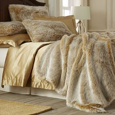 Gold Ombre Faux Fur Blanket & Shams from Pier 1 imports. Saved to For the Home. Bedding Sets, Gold Bedding, Pillow Shams, Luxury Bedding, Faux Fur Bedding, Faux Fur Blanket, Gold Pillows, Quilts, Rugs
