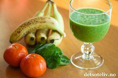 Grønn vidundersmoothie med appelsin og banan   Det søte liv