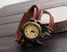 Hand-woven highend suede brecelet watch, leather retro watch,unisex charm bracelet watch DA044. $18.80, via Etsy.