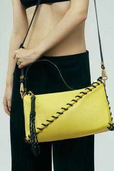 The Acne Studios Rope messenger yellow bag #AcneStudiosBags
