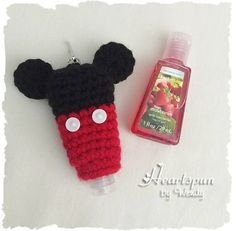 Ravelry: Mickey and Minnie Mouse Hand Sanitizer Holders pattern by Wendy Connor