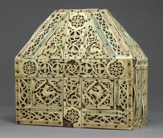 Bursa Reliquary, early 900s  North Italian  Bone, copper-gilt, wood
