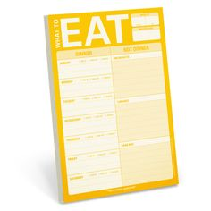 Knock Knock's What to Eat Pad is fridge notepad perfect for weekly meal planning. This magnetic fridge notepad makes a useful, unique household gift.