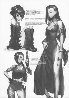 Official Revy design from 1996 and unused alternate Sawyer and Shenhua designs : blacklagoon Revy Black Lagoon, Black Lagoon Anime, Manga Girl, Manga Anime, Anime Art, Anime Fantasy, Fantasy Girl, Female Character Design, Character Art