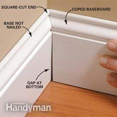 Home Remodeling Diy Perfect Trim on Doors, Windows and Base Moldings - Step by Step: The Family Handyman - Tricks for getting tight-fitting joints on door and window casings and on base moldings. Base Moulding, Moldings And Trim, Diy Molding, Molding Ideas, Floor Molding, Crown Moldings, Do It Yourself Furniture, Do It Yourself Home, Home Renovation