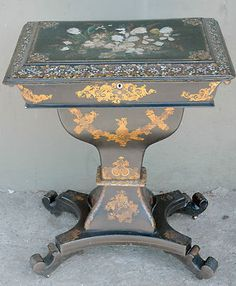 Victorian Era French Paper Mache Sewing Stand With Mother-of-Pearl Inlay    c.1880