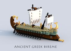 This is an ancient greek bireme, a type of galley, which played a key role in the hellens' maritime dominance over the Mediterraneum from around 700 to 200 BC. [Click to see a...