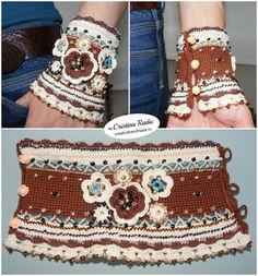 Bracelet boho chic crocheted crochet boho cuff by raducristina