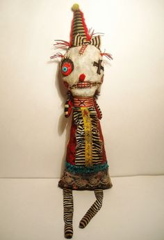 Handmade  Art Doll Monster Clown Lulu-By by JunkerJane on Etsy