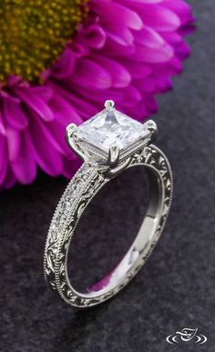 Princess Cut Antique Inspired Ring. Green Lake Jewelry