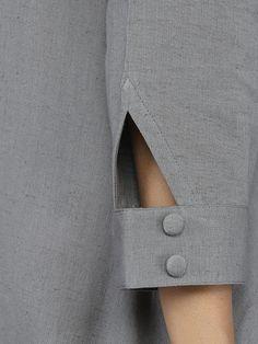 Grey Multi Patang Khadi Kurta With Maroon Palazzo - Set of 2 Neck Designs For Suits, Sleeves Designs For Dresses, Fancy Blouse Designs, Dress Neck Designs, Sleeve Designs, Shirt Designs, Kurti Sleeves Design, Kurta Neck Design, Khadi Kurta