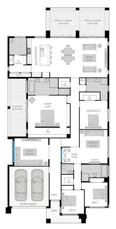 Modern House Floor Plans, Sims House Plans, Home Design Floor Plans, House Layout Plans, New House Plans, Dream House Plans, Small House Plans, House Layouts, Mcdonald Jones Homes