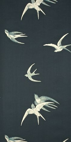 :: Sanderson Swallows wallpaper :: This on the back wall plus a dusty light pink on all the other walls