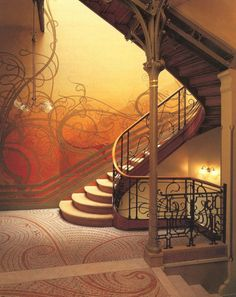The Tessel House in Brussels by Victor Horta is an outstanding example of Art Nouveau architecture. Here the staircase, wall decorations, mosaic floors, lighting, furniture and architecture were designed together with a new vision focused on nature and the female form