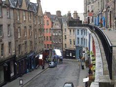 The Royal Mile in Edinburgh, Scotland. Walk from Edinburgh Castle to Holyrood Palace the Scottish home for Queen Elizabeth.