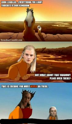 Don't know why this is so funny.....I almost cried <--- i think it's because of how small Legolas's body is in the last picture...