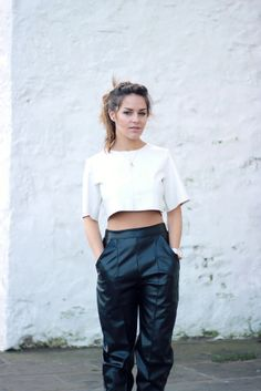 The Little Magpie >>www.thelittlemagpie.com/ is a true #Missguidedgirl in head-to-toe Nicole x Missguided. Get the look with the Nicole x Missguided Faux Leather Crop Top in White and the Faux Leather Tailored Trousers.