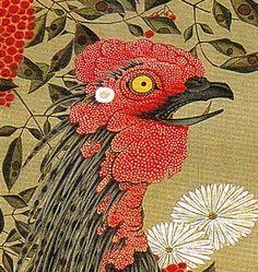 Nandina and Rooster Chinese Prints, Superflat, Japan Design, Japanese Artists, Vincent Van Gogh, Beautiful Birds, Asian Art, Rooster, Irezumi