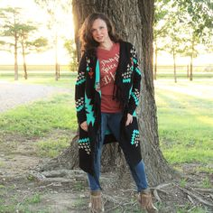 Black Aztec Long Cardigan – Southern Mess Boutique
