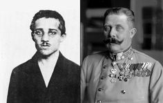 Assassin Gavrilo Princip (left) and his victim Archduke Franz Ferdinand, both photographed in 1914. Princip, a 19 year old a Bosnian Serb who killed the Archduke, was recruited along with five others by Danilo Ilic, a friend and fellow Bosnian Serb, who was a member of the Black Hand secret society. Their ultimate goal was the creation of a Serbian nation.