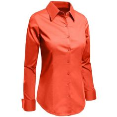 LE3NO Womens Tailored Long Sleeve Button Down Shirt with Stretch ($15) ❤ liked on Polyvore featuring tops, long sleeve shirts, red top, long sleeve tops, red shirt and stretch button down shirt