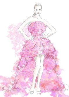#fashion #illustration #dress #gown #concept #art #skech #digital #project #model #famous #beauty