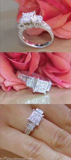 Antique Style: Pretty Diamond Ring, 1,47 cts. H-SI, WG-18K