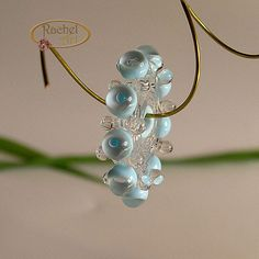 Sky Blue Lampwork Glass Beads,  Handmade Beads,  Bubble Disc Spacer Set (6)