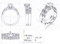 Anillo de diamantes Filigrana (boceto)