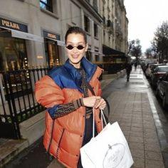Bella Hadid is seen shopping at Prada in Paris