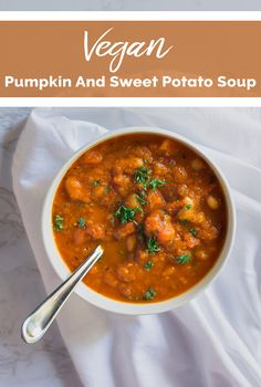 Pumpkin And Sweet Potato Soup. A thick and hearty fall soup made with pumpkin sweet potatoes tomatoes carrots and beans. Vegan and Gluten-free Soup Appetizers Soup Appetizers dinners carb Soup Appetizers Appetizers with french onion Fall Recipes, Soup Recipes, Vegetarian Recipes, Healthy Recipes, Easter Recipes, Vegetarian Appetizers, Vegan Soups, Pumpkin Recipes, Recipes Dinner