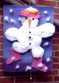 Cottonball #Snowman craft for kids #wintercraft