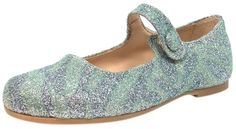 Manuela de Juan Girl's Mimi Aqua Glitter Leather Snap Mary Jane Flat Shoe